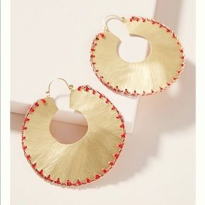 Anthropologie Julie stitched hoop earring